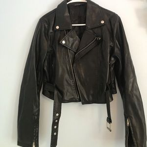New Pleather black biker jacket